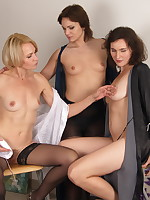 Three housewives fooling around with one lucky guy